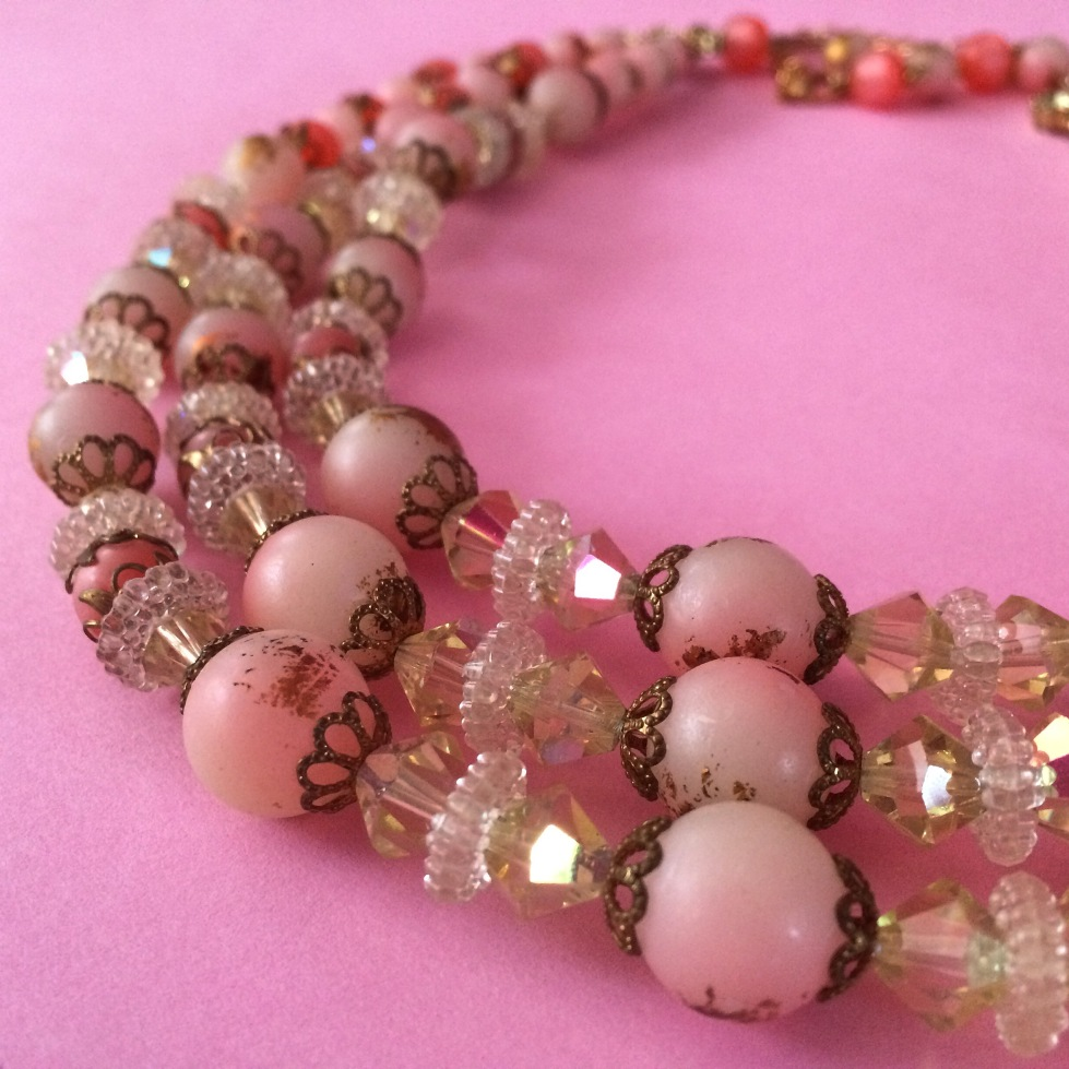 pink vintage beaded necklace